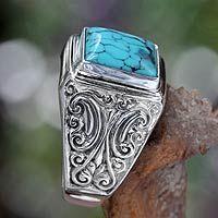 Men's sterling silver ring, 'Sky Crown'