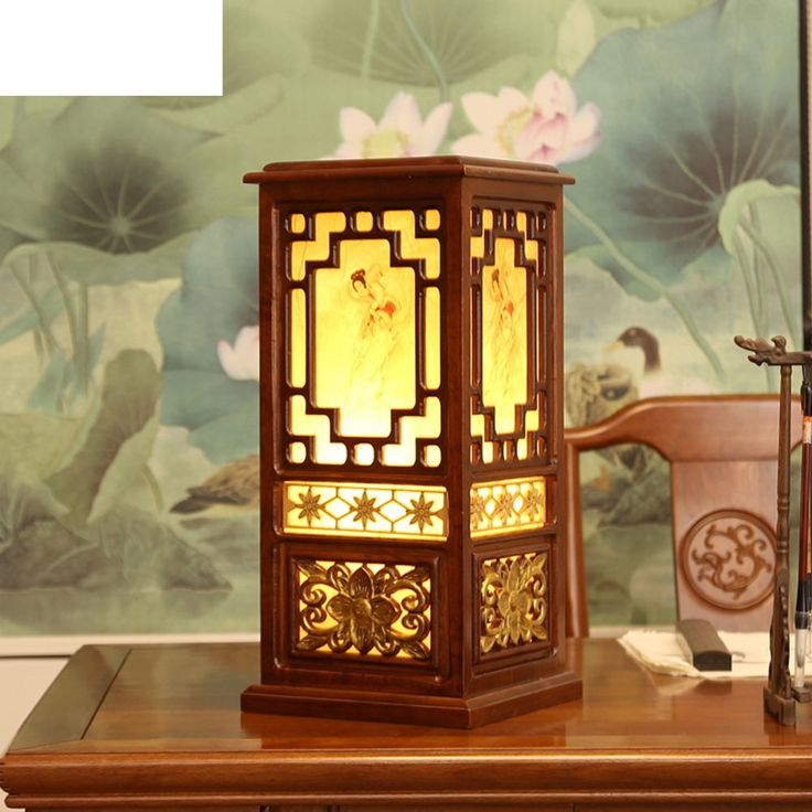 Chinese Lamps/Solid Wood,Art Carved,Elegant, The Living Room Lights/Creative,Antique,Study,Bedroom,Bedside Table Lamps