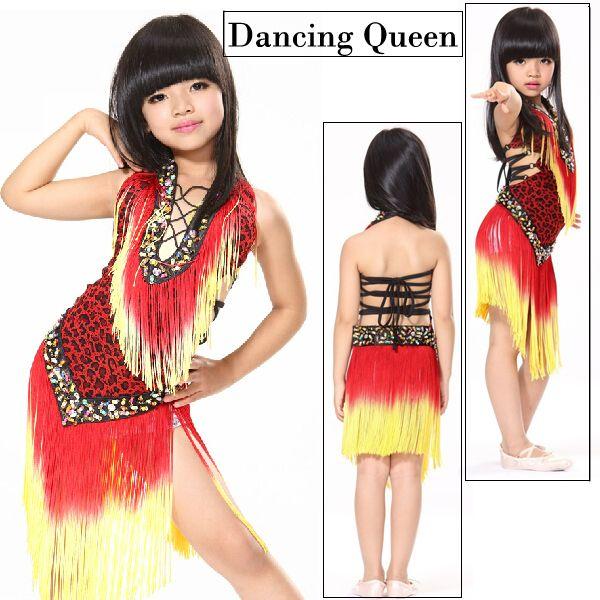 Танцевальная платье для девочек сценические костюмы кисточкой ребенок платье для танцев танго / ча / самба бальные танцы платья для детей