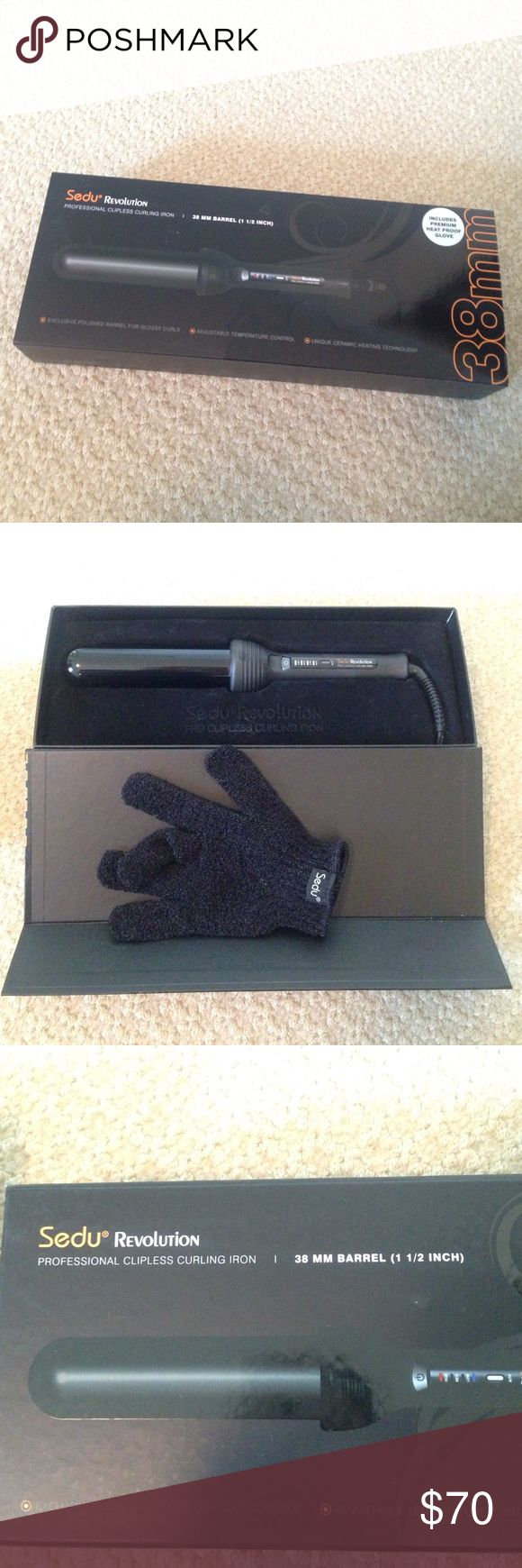 """Sedu curling wand 1 1/2"""" barrel curling wand with protective glove--never used, still in packaging Sedu Other"""