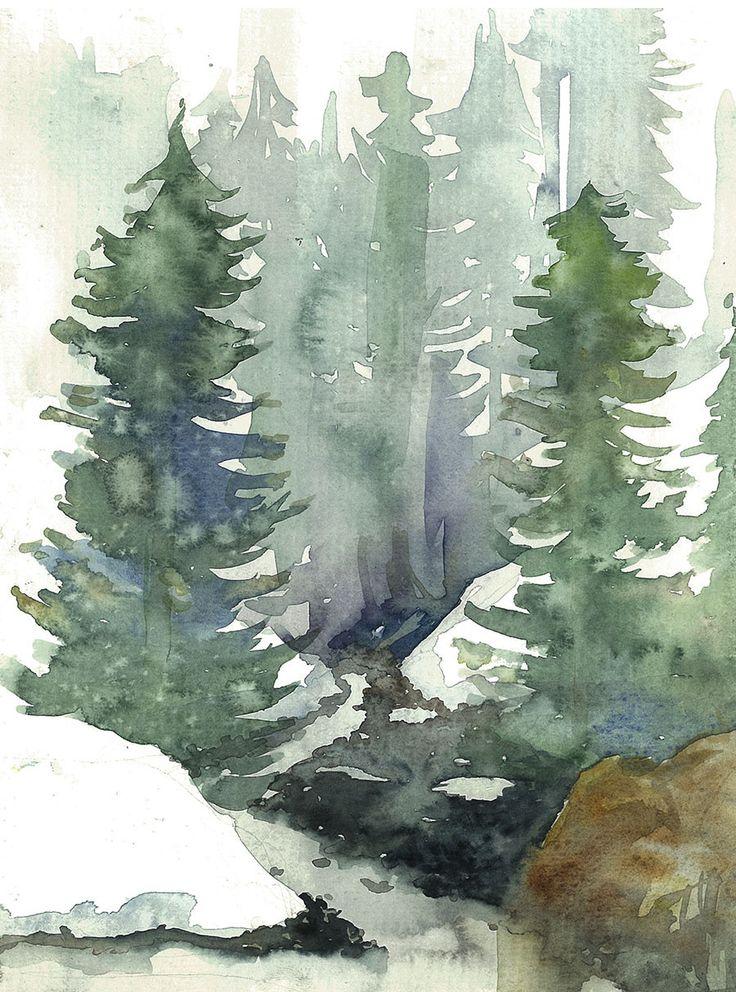 •Aquarelle•  A notre dame de Bellecombe, a l'arriere d'une bagnole, coffre ouvert, pour nous proteger de la pluie, pris sur le vif.