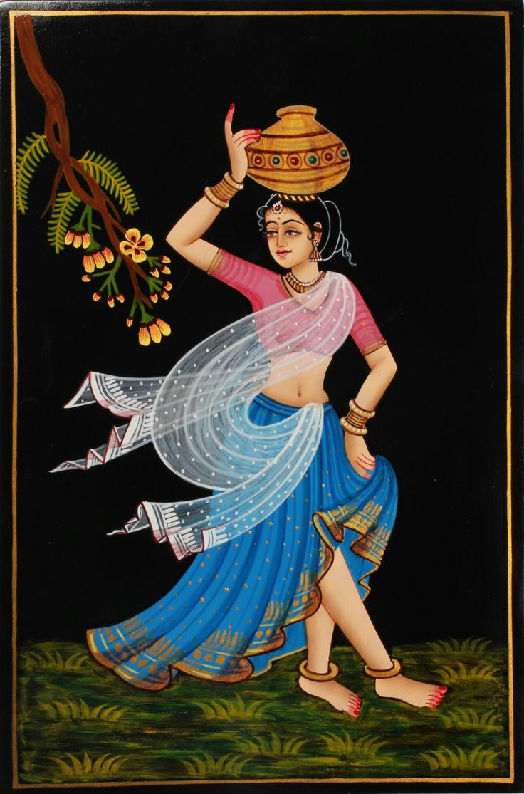 Painting of pot lady.
