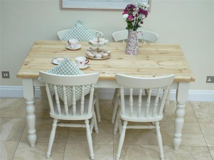 lovely shabby chic kitchen table and 4 chairs painted in