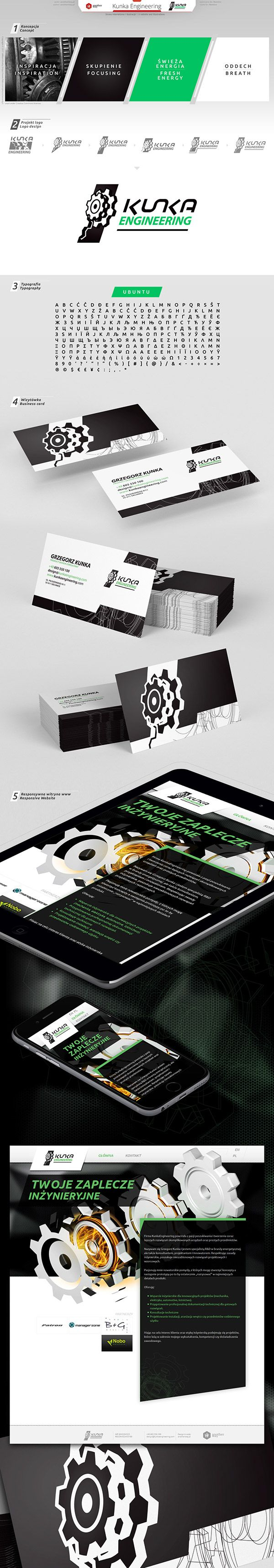 Kunka Engineering #businesscard, #logo, #Website, #wordpress, #gears, #responsive, #energy