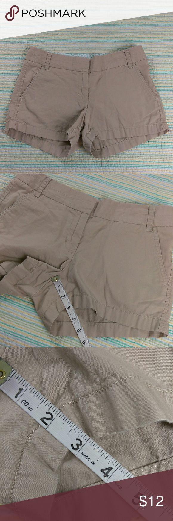 "J Crew Sz 2 Khaki 3"" Chino Broken-In Casual Shorts J Crew Women's Sz 2 Khaki 3"" Chino Broken-In Casual Cotton Shorts J. Crew Shorts"