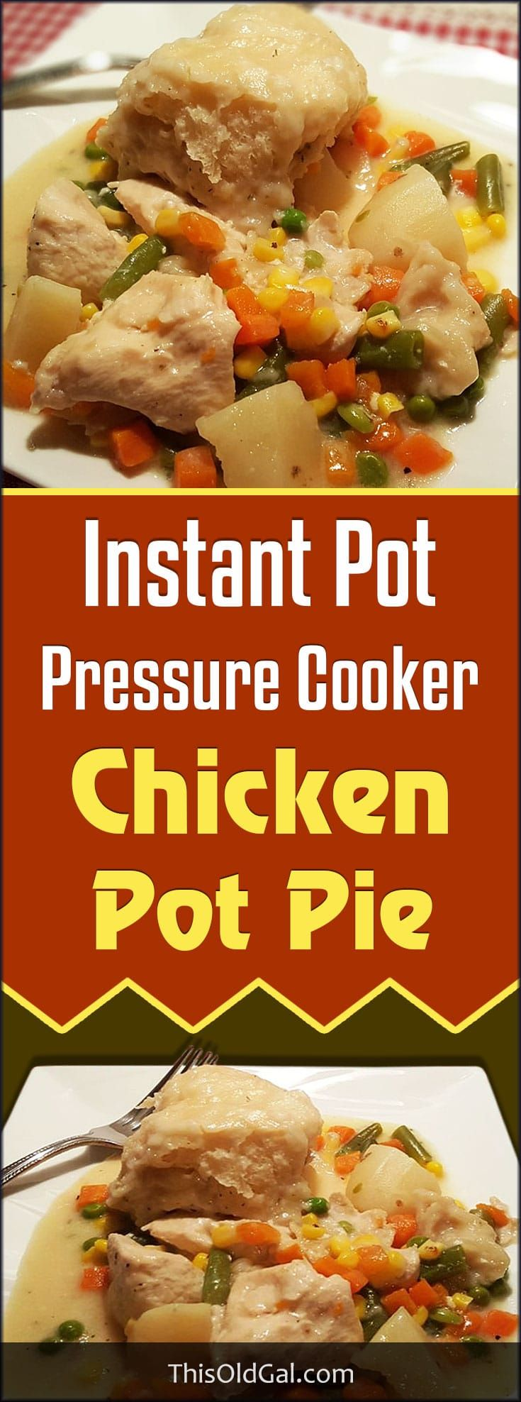 Pressure Cooker Chicken Pot Pie is a very simple beginner's Pressure Cooker meal that is warm and comforting and makes you feel good all over. via @thisoldgalcooks