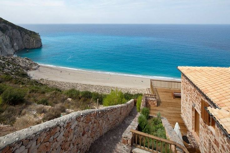 Overlooking Milos beach from Beyond Villas
