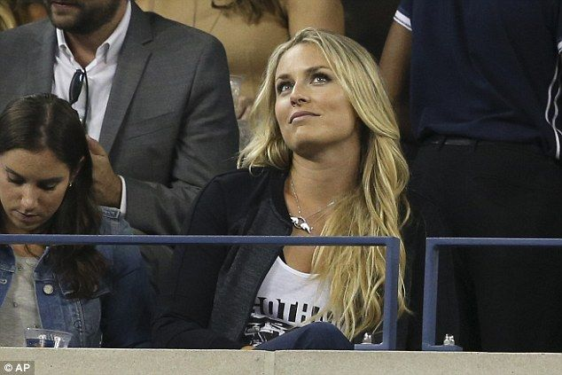 Night off: Skier Lindsey Vonn, who is the girlfriend of Tiger Woods, watches the action un...