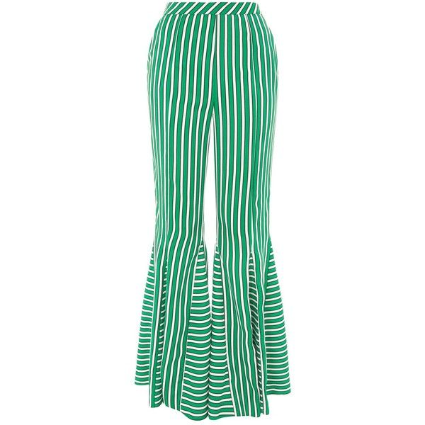 Topshop Stripe Flare Trousers ($79) ❤ liked on Polyvore featuring pants, topshop, green, flared pants, green trousers, topshop trousers, striped flare pants and green pants