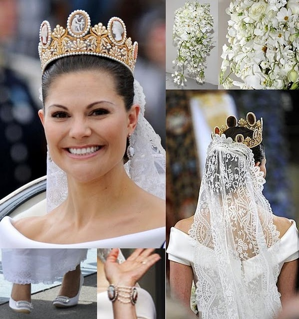 The Cameo Tiara, worn by Crown Princess Victoria... I love the uniqueness of this, and the way it's worn here with her wedding veil.  I don't know that a non-royal could pull this off, but I love the effect here.  It's just beautiful.