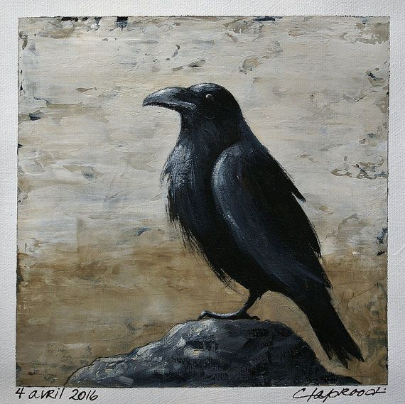 Small crow painting, Black bird, bird art, wall art, black, crow, Raven art, Rustic, home decor, Acrylic on canvas, Grey, beige, 6x6 + a mat