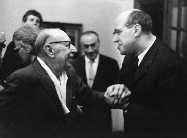 Igor Stravinsky and Russian cellist and conductor Mstislav Rostropovich, at the Royal College of Music, London. 28th June 1964