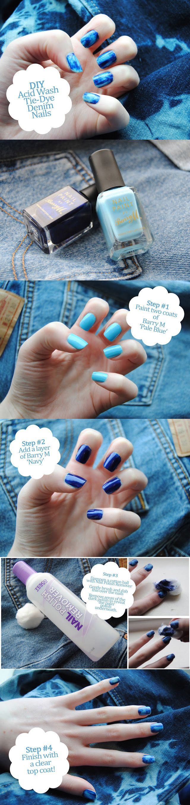 DIY Acid Wash Denim Nails