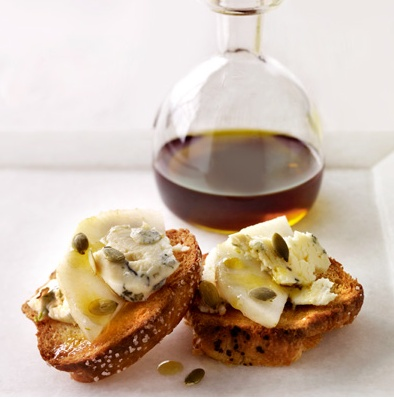 Cocktail Party Food:  Stilton Pear Crostini Drizzled with Pumpkin Seed Oil