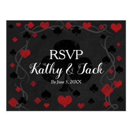Stylish casino wedding rsvp post card - postcard post card postcards unique diy cyo customize personalize