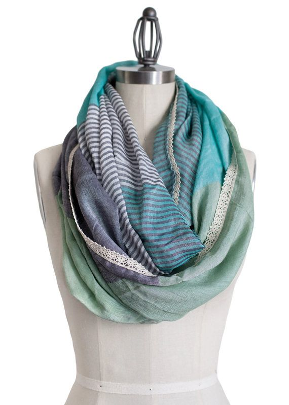 MINT INFINITY SCARF mint and gray lace trim mint by gertiebaxter,