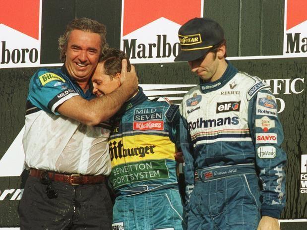 Flavio Briatore, Michael Schumacher & Damon Hill, Spa Francorschamps 1995