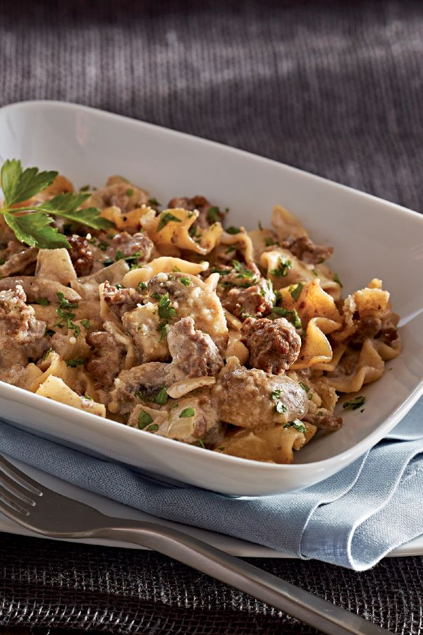 Easy Beef Stroganoff Casserole – Here's a classic beef stroganoff  recipe that even the strapped-for-time crowd can pull off. Our tasty casserole version is ready in under an hour.