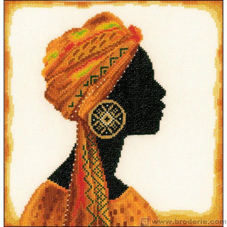 0 point de croix femme africaine - cross stitch african woman 31x29 étamine 10.5 fils