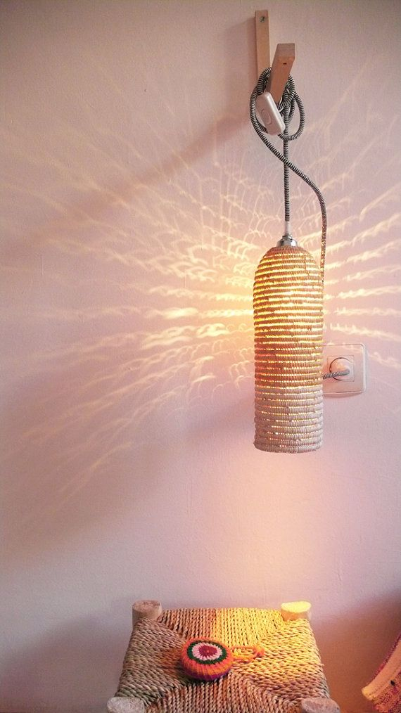Natural raffia lamp with textile cable switch and by lacasadecoto, €59.00