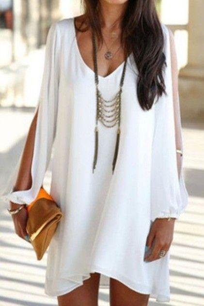 Del verano mujeres 2014 nuevas mujeres atractivas loose sexy v cuello sin tirantes del a line casual mini camisa de vestir blanca vestidos para la playa en vestidos de moda y complementos mujer en aliexpress.com
