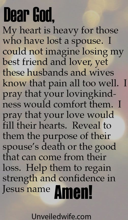 Prayer Of The Day – Death Of A Spouse by @unveiledwife