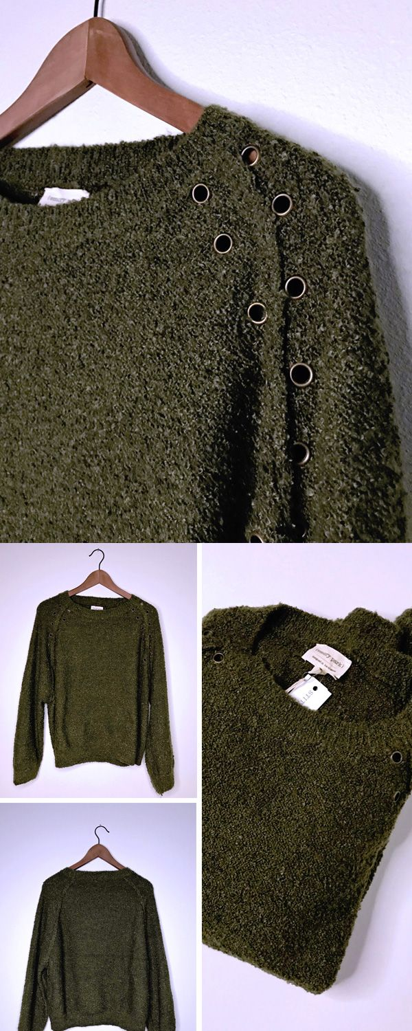 Stitch Fix Fall 2017 - Winter 2018 review. Personal stylist outfit Inspiration board help. Love this cozy green sweater with grommets on the shoulder. (Emory Park, Annalisa Grommet Detail Pullover)