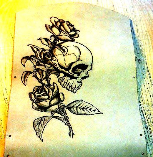 skull&rose pyrography