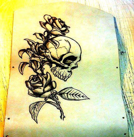 skull&rose pyrography