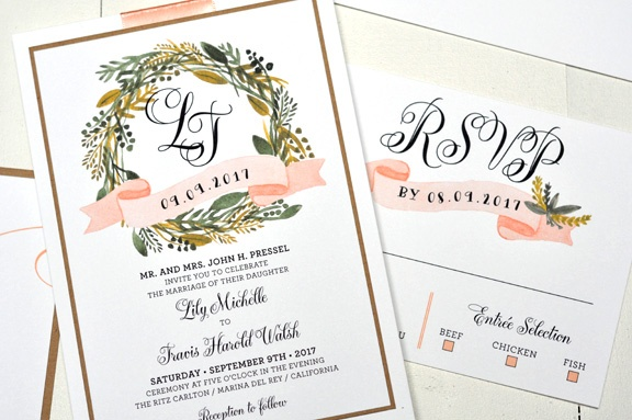 Wreath Monogram Wedding Invitation from bt elements. Customize yours with Paper Passionista.