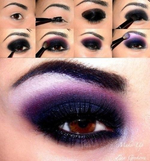 Eye Shadows, Brown Eye, Smoky Eye, Purple Eyeshadow, Dark Purple, Eyeshadows, Eyemakeup, Smokey Eye, Eye Makeup Tutorials