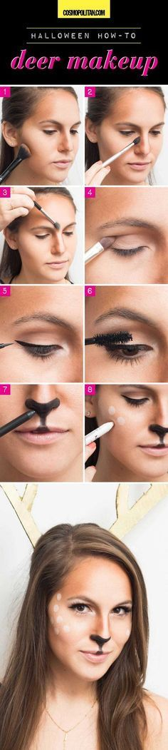 Create this deer DIY Halloween costume with these 8 makeup steps. First, contour and highlight your face to resemble a deer shaped face. Contour eyes with nude shadows and create a cat-eye using black liquid liner. Then, apply a generous coat of mascara. Use black pencil to create the deer nose and finish by creating deer spots along your temples and nose using a white pencil liner. Read the full instructions at Cosmopolitan.com.