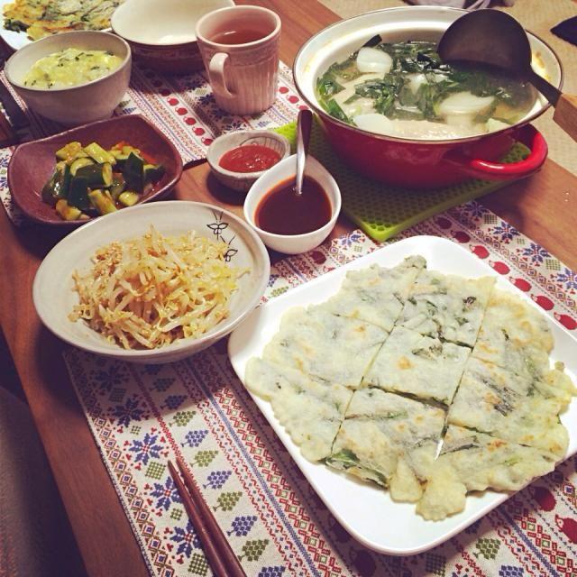 今日の食卓 - 10件のもぐもぐ - タッカンマリ、チヂミ、ナムル、オイキムチ、生姜のお粥 by 5sait