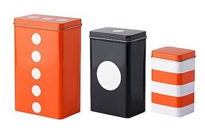 Tea Coffee Sugar Sets:Katie Alice - Ikea Set 3 Steel Nesting Containers w/ Lids Orange White Black Coffee Tea Canister Storage Jars Tins Boxes Tripp