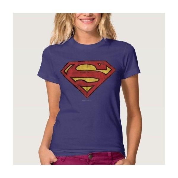 Superman Grunge Logo T-shirts (€30) ❤ liked on Polyvore featuring tops, t-shirts, superman logo t shirt, blue t shirt, superman tee, superman t shirt and blue tee
