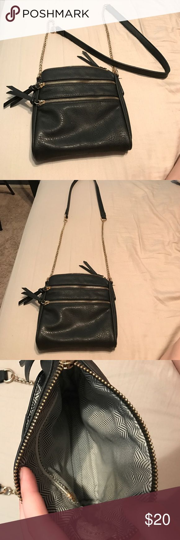 Black faux leather purse Small black faux leather purse with long strap! Such a cute fun bag for a night out! Very clean condition! Only used a few times Bags Mini Bags