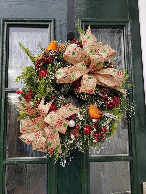 Christmas wreath, robin wreath, Xmas decoration, Christmas floral