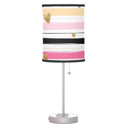 Modern Love Golden & Pink Girly Chic Stripes Table Lamp - #customizable create your own personalize diy