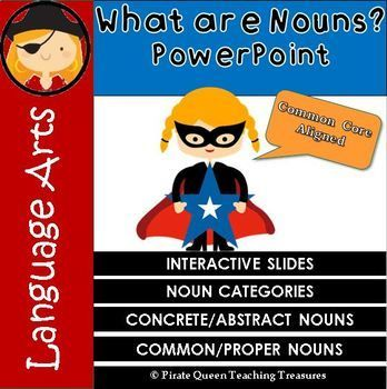 What Are Nouns? - PowerPoint is an interactive instructional tool for teaching nouns. The PowerPoint defines what a noun is along with the various categories and types of nouns. Students will learn Common and Proper nouns as well as Concrete and Abstract nouns.