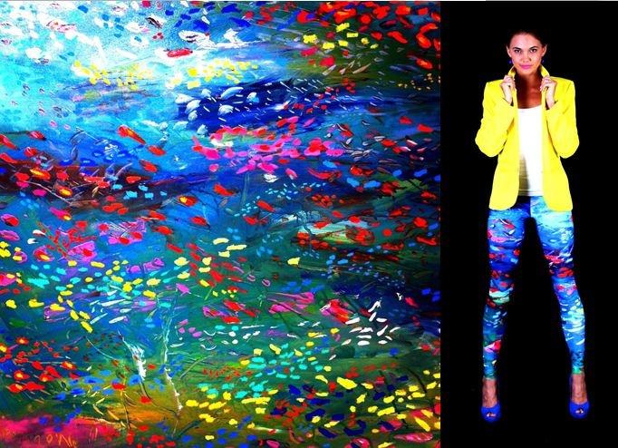 'Underwater' leggings inspired by Regan O'Neill original artwork $79 each sml, med, lrg