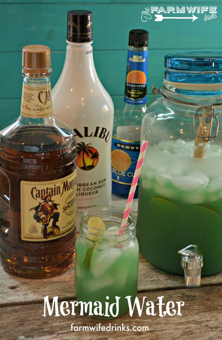 Mermaid Water is the perfect rum punch. Captain Morgan, Malibu Rum, Blue Curaçao, limeade, Ginger Ale.