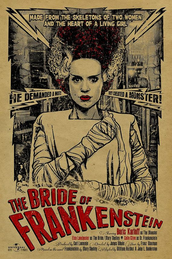 Bride+of+Frankenstein+poster.+12x18.+Kraft+by+UncleGertrudes,+$22.00