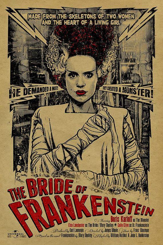 Bride+of+Frankenstein+poster.+12x18.+Kraft+by+UncleGertrudes,+$22.00