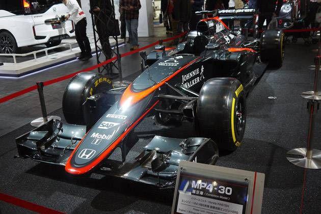 24時間耐久レース参戦車両!!詳細な数値は「企業秘密」なぞのベールに包まれたHONDAのF1マシン「マクラーレン・ホンダMP4-30」大阪オートメッセ 自動車