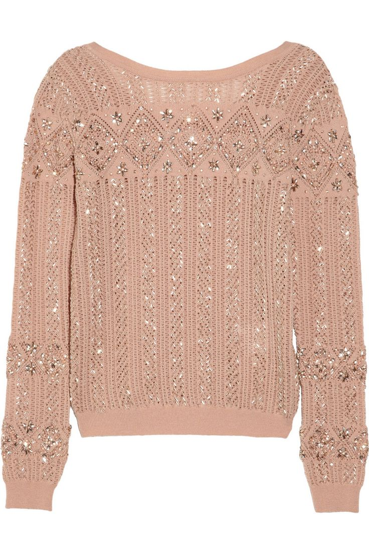 Emilio Pucci|Embellished open-knit wool-blend sweater|NET-A-PORTER.COM