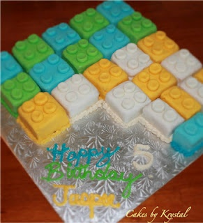 """individual lego cakes - different colours and maybe combine with the Lego mini figures holding the candles that spell out """"Happy Birthday"""", wouldn't have to worry about cutting the cake!"""