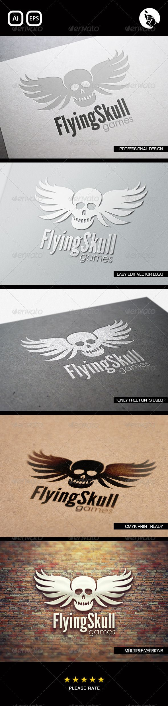 Flying Skull Games Logo  #GraphicRiver         FLYING SKULL GAMES LOGO BY FLIPSIDE  	 Professionally designed unique logo  	 Fully editable with eps & ai formats  	 CMYK print ready files  	 This Logo uses free fonts, links included  	 FONTS:  	 •  .fontsquirrel /fonts/League-Gothic  	 • Century Gothic     Created: 27May13 GraphicsFilesIncluded: VectorEPS #AIIllustrator Layered: No MinimumAdobeCSVersion: CS Resolution: Resizable Tags: computer #console #cool #dead #developer #editable #eps…