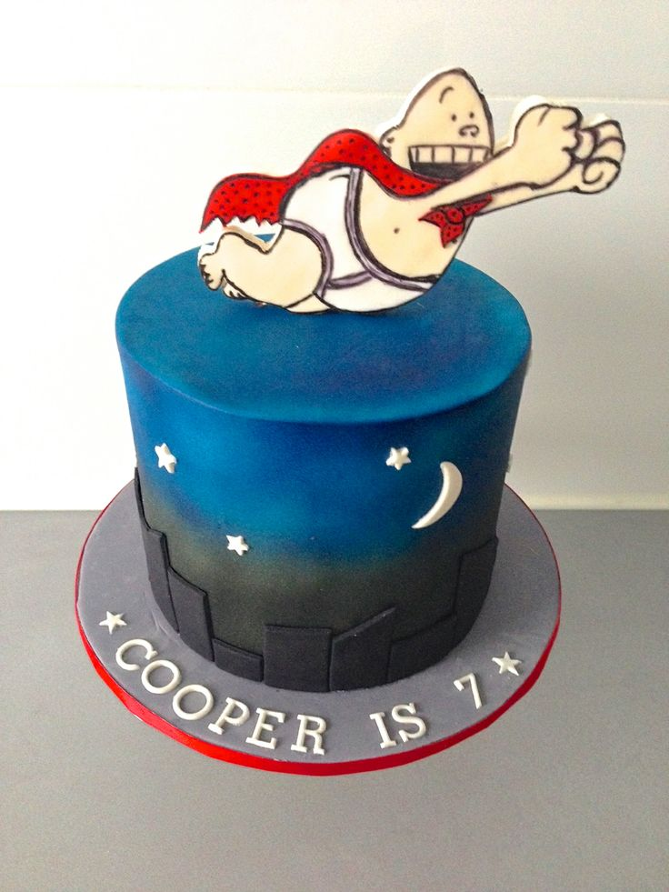 Captain Underpants themed cake by Finesse Cakes by Ingrid, Yarraville, Melbourne #cakes #noveltycakes