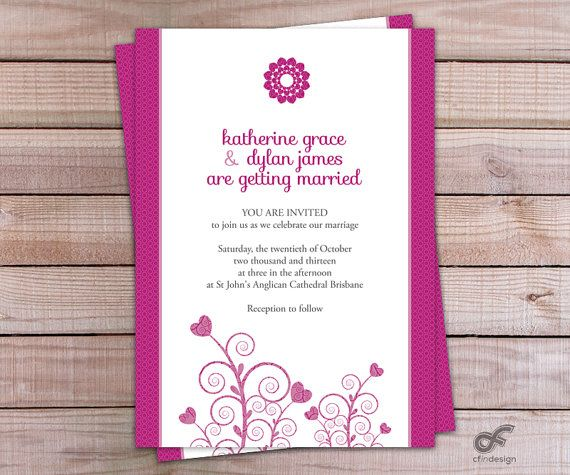 Wedding Invitation Personalized Printable  Swirl and by CFinDesign