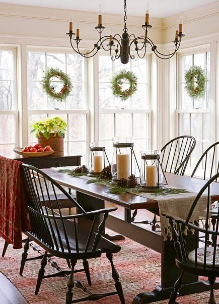 Colonial Christmas Decor Ideas Dining Room ChandeliersThe ChandelierWindsor ChairsTable